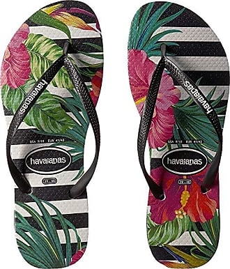a6d14a5a5 Havaianas Slim Tropical Floral Sandal (Black White) Womens Sandals