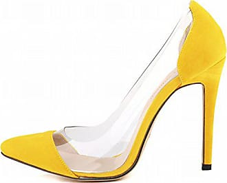 cd4bfe3f152dc9 Aisun Damen Fashion Spitz Zehen High Heels Stiletto Transparent Pumps Gelb  36 EU
