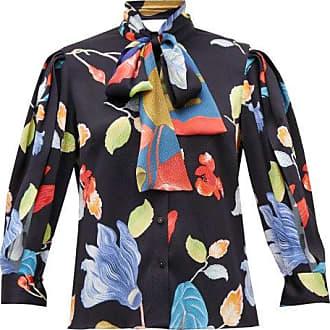 Peter Pilotto Floral-print Silk-blend Seersucker Blouse - Womens - Black Print