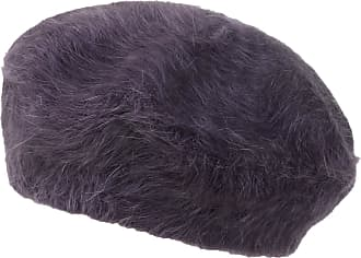 Ililily Solid Color Angora French Beret Furry Artist Flat Winter Hat, Purple Without Tab