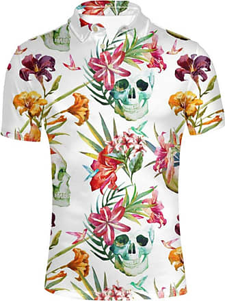 Hugs Idea Modern Mens Jersey Golf Sport T Shirts Skull Flower Design Hawaiian T-Shirt Summer Casal Short Sleeve Tees
