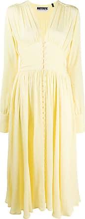 Rotate Vestido franzido com abotoamento - Amarelo