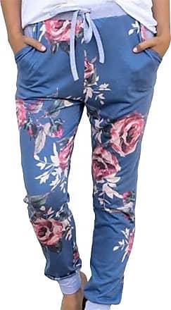 QIYUN.Z Women Casual Streetwear Pants Floral Print Elastic Waist Pocket Slim Pencil Pants LC77340-blue XL