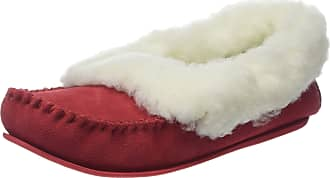 ec10f2451da SNUGRUGS Womens Luxury Lambswool Suede Moccasin Slipper with Wool Cuff   Rubber  Sole - Red -