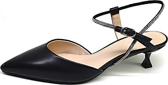 NOADream Women Slingback High Heels Pointed-Toe Pumps Buckle Sandals Summer Autumn Party Cross Strap Elegant Courts Shoes Black