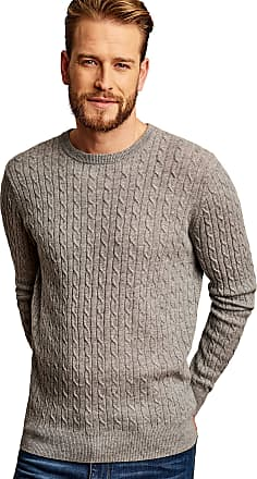 WoolOvers Mens Cashmere Merino Cable Crew Neck Jumper Grey Marl, M