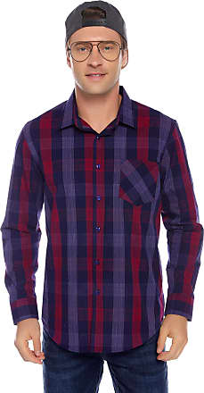 iClosam Mens Regular-fit Short Sleeve Cotton Plaid Shirt Loose fit Button Down Pocket Casual Shirt Top (Long Sleeve 3, XL)