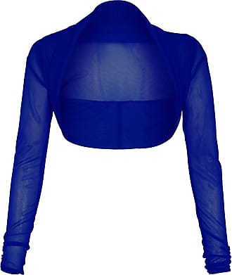 The Celebrity Fashion Womens Ladies Full Mesh Sheer Chiffon Bolero Cropped Shrug Top Cardigan 8-26 Royal Blue