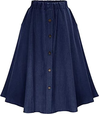 QIYUN.Z Womens Vintage A-line Printed Pleated Flared Midi Jeans Skirt Navy Blue One Size
