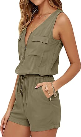 Vonda Womens Jumpsuit Summer Sleeveless Short Jumpsuits V Neck Casual Playsuit Belted Romper Khaki XL