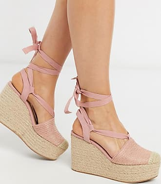 Stradivarius lace up wedge in pink