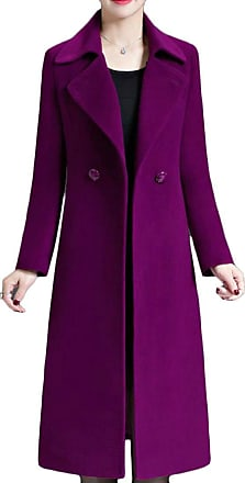 H&E Womens Autumn Winter Lapel Double Breasted Woolen Outwear Long Jacket Dark Purple XS