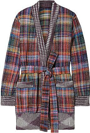 Missoni Missoni Woman Belted Checked Cotton-blend Cardigan Violet Size 42