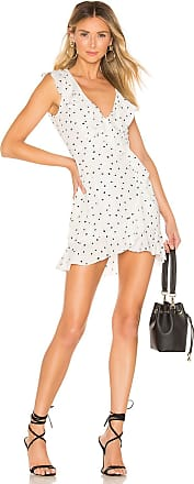 Superdown Camille Printed Frill Dress in White