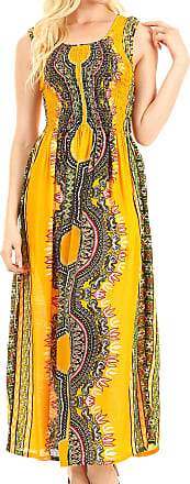 Sakkas TH19021 - Linza Womens Sleeveless Casual Maxi Dashiki African Print Dress Long Nice - Yellow - OS