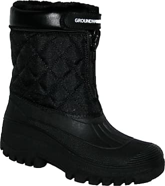 Groundwork New Ladies Horse Riding Yard Waterproof Stable Walking RAIN Snow Winter SKI Warm Farm Mucker Boots (8 UK, Black Fur Lined)