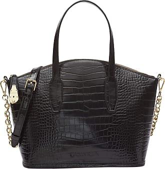 Calvin Klein Womens Lock Satchel, Black Croco, One Size
