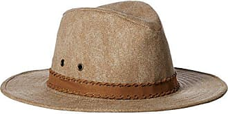 ále by Alessandra Womens Jaxson Adjustable Vintage Washed Canvas Hat with Suede Trim and UPF 50+, Caramel, Adjustable Head Size