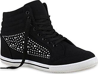 f5ed2b97577a3d Stiefelparadies Damen Sneakers Sneaker High Strass Zipper Schnallen Turn  Spitze Sport Schnürer Schuhe 128731 Schwarz Straßsteine
