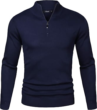 iClosam Mens Set-in Classic Sweater Pullover Jumper Knitwear ( 2 Dark Blue, XXL)