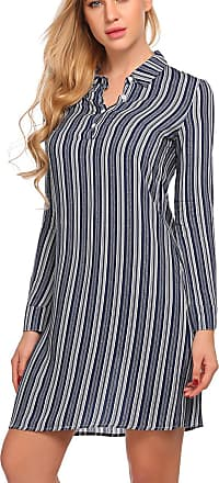 Zeagoo Womens Casual Long Sleeve Striped Button Neck Polo Shirt Dress Tops Navy Blue