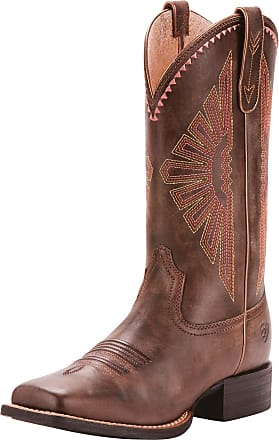 Ariat Womens Round Up Rio Western Boots in Naturally Distressed Brown Leather, B Medium Width, Size 3.5, by Ariat