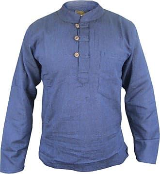 Gheri Mens Plain Grandad Collarless Cotton Light Festival Summer Shirts Tops Kurtas Navy Blue XXX-Large