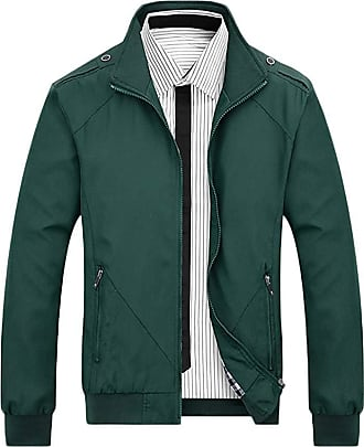 Saoye Fashion Mens Business Jacket Stand Collar Solid Color Loose Coat Lightweight Feast Clothing Casual Jacket Men Fashion (Color : Grün, Size : L)
