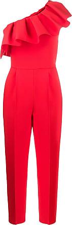 Msgm asymmetric ruffled jumpsuit - Red