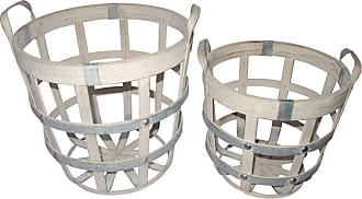A & B Home Round Woven Baskets - Set of 2 - 43770