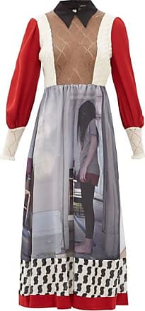 Undercover Printed Crepe And Mohair-blend Midi Dress - Womens - Red Multi