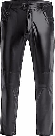 TiaoBug Mens Faux Leather Metallic Skinny Leggings Moto Biker Tight Pants Trousers Clubwear Black XXXX-Large