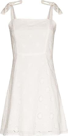 Honorine Vestido Poppy de algodão com bordado inglês - Branco