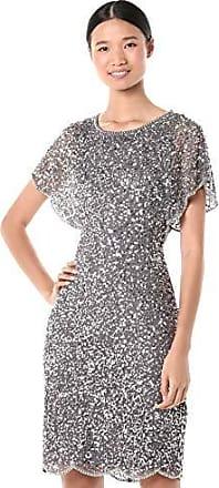 Adrianna Papell Womens Beaded Sleeveless Boat Neck Illusion Sheath Dress