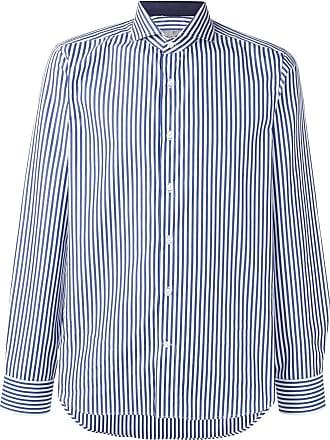 Canali Camisa slim fit listrada - Azul