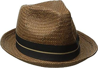 Brixton Mens Castor Straw Fedora Hat, Light Brown/Black, X-Small