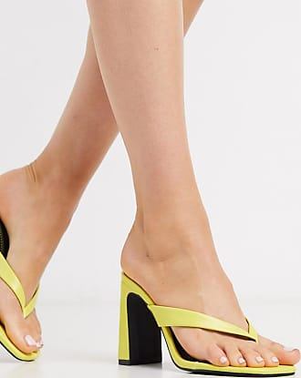 Qupid Qupid thong heeled mules in yellow