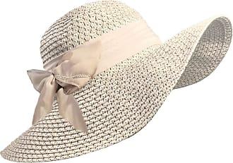 TOSKATOK Ladies Wide Brimmed Floppy Straw HAT (Beige)