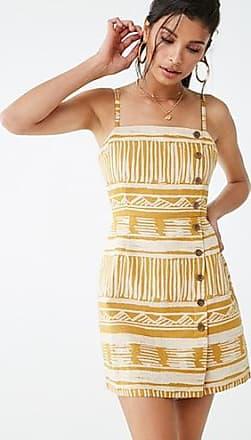 Forever 21 Forever 21 Tribal-Inspired Print Linen Dress Mustard/ivory
