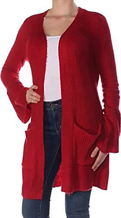 Kensie Womens Warm Touch Open Cardigan with Bell Sleeve, deep red, XL