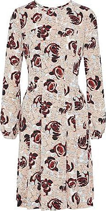 Oscar De La Renta Oscar De La Renta Woman Pleated Floral-print Silk Dress Beige Size 2