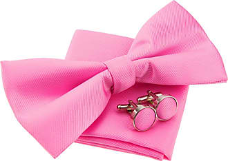 Retreez Plain Woven Microfiber Pre-tied Bow Tie (Width: 5) with matching Pocket Square and Cufflinks, Gift Box Set as a Christmas Gift, Birthday Gift - Pink