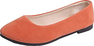 Vdual Ladies Slip On Flat Comfort Walking Ballerina Shoes Summer Loafer Flats UK 2.5-UK 8.5 Orange