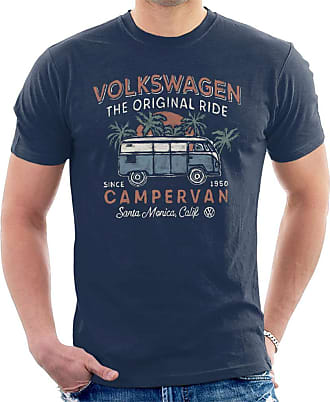 Volkswagen The Original Ride Campervan Mens T-Shirt, Navy Blue, XXL