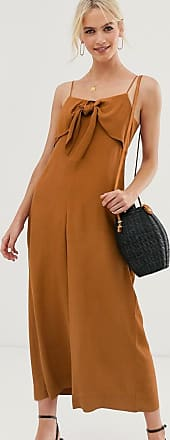 & Other Stories relaxed tie-front jumpsuit in rust-Brown