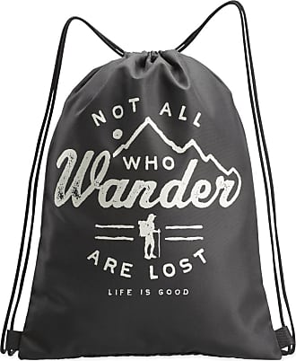 Life is good Not all Who Wonder Cinch Sack OS Night Black