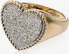 Yvonne Léon Womens Metallic 18k Gold Pavé Diamond Heart Ring