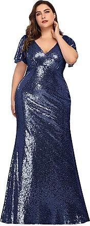 Ever-pretty Womens V Neck Short Flutter Sleeve Long Floor Length Fishtail Mermaid Sequin Plus Size Wedding Guest Dresses Navy Blue 22UK
