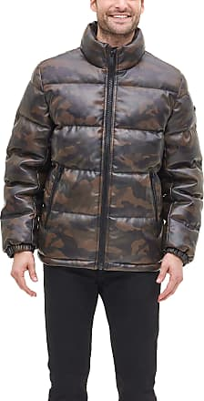 DKNY Mens Faux Leather Quilted Ultra Loft Puffer Jacket Down Alternative Coat, Camouflage, Medium