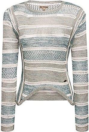 60/% khujo Damen Pullover SATURN gestreifter Grobstrickpullover mit Tubekragen